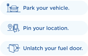 Park your vehicle pin your location in the mobile app and unlatch your fuel door